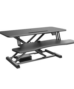 DWS15-02-Brateck Electric Sit Stand Desk Converter (950x615x156~480mm) with Keyboard Tray Deck (Standard Surface) Worksurface Up to 20kg