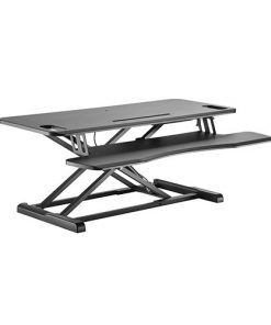 DWS28-02N-Brateck Gas Spring Sit Stand Desk Converter (950x615x110~505mm)with Keyboard Tray Deck(Standard MDF Board Surface)