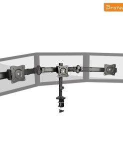 "LDT06-C03-Brateck Triple Monitor Arm Mounts with Desk Clamp VESA 75/100mm Up to 27"" Monitors Up to 8kg per screen VESA 75x75/100x100"