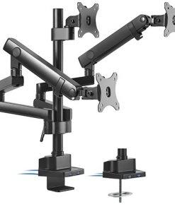 "LDT20-C036UP-Brateck Triple Monitor Aluminum Slim Pole Held Mechanical Spring Monitor Arm Fit Most 17""-27"" Monitors Up to 7kg per screen VESA 75x75/100x100"