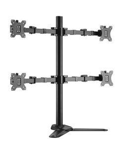 "LDT33-T048-Brateck Quad Monitors Affordable Steel Articulating Monitor Stand Fit Most 17""-32"" Monitors Up to 9kg per screen VESA 75x75/100x100"