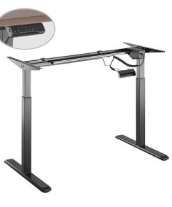 S03-22D-B-Brateck 2-Stage Single Motor Electric Sit-Stand Desk Frame with button Control Panel-Black Colour (FRAME ONLY); Requires TP18075 for the Board
