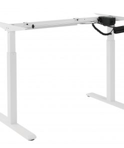 S03-22D-Brateck 2-Stage Single Motor Electric Sit-Stand Desk Frame with button Control Panel-White Colour (FRAME ONLY); Requires TP18075 for the Board