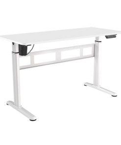 S04-22D-W-Brateck Stylish Single-Motor Sit- Stand Desk 1400x600x740~1200mm - White