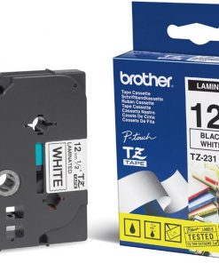 TZE-231-Brother 12mm Black on White TZE Tape