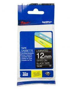 TZE-335-Brother 12mm White on Black TZE Tape