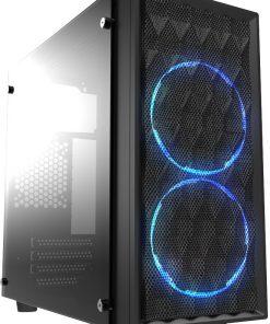 CMC-72-Casecom CMC-72 Micro ATX Tower Side Transparent Temper glass 2x12CM Blue LED FANs