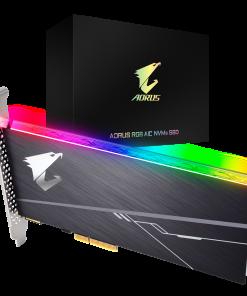 GP-ASACNE2100TTTDR-Gigabyte AORUS AIC PCIe x4 NVMe SSD 1TB - 3480/3080 MB/s 610K/530K IOPS 3D TLC ToshiBa BiCS3 1600TBW 1024MB 1.8 Mil MTBF RGB 5yrs