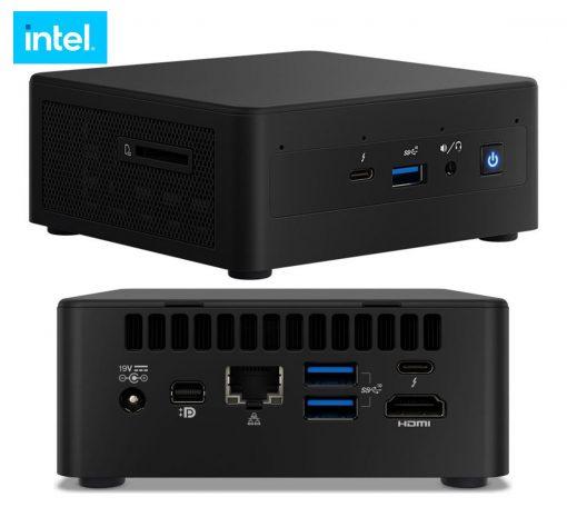 BNUC11TNHV70000-New Intel NUC i7-1185G7 vPro 4.8 GHz xDDR4 SODIMM M.2 SSD 4xDisplays Iris Xe Graphics HDMI USB-C (DP1.2) mDP 2xTB3 GbE LAN WiFi6 4xUSB no AC Cord