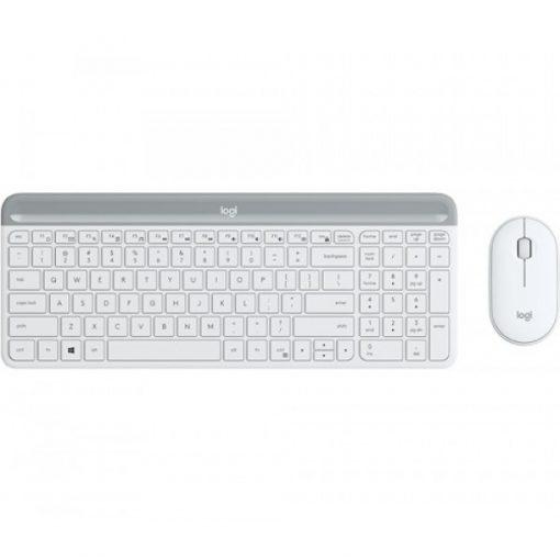 920-009183-Logitech MK470 Slim Wireless Keyboard Mouse Combo Nano Receiver 1 Yr Warranty(L) --White