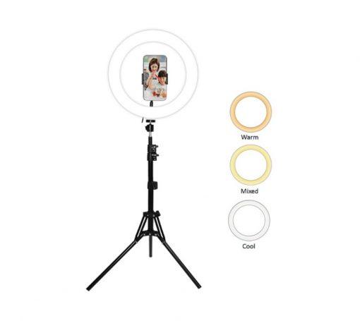 SCX-818B-Sansai LED Ring Light SCX-818B 3 light colours 120 LED bulbs 360° up/down rotation Tripod 50-160cm 2m USB cord with holder