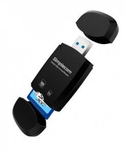 CR303-BK-Simplecom CR303 2 Slot SuperSpeed USB 3.0 Card Reader with Dual Caps -Black