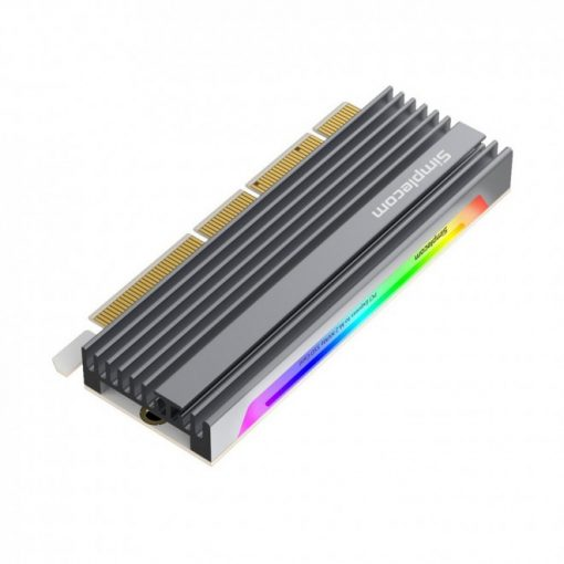 EC415-Simplecom EC415 NVMe M.2 SSD to PCIe x4 x8 x16 Expansion Card with Aluminium Heat Sink and RGB Light