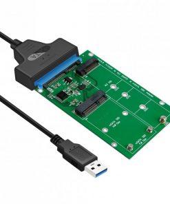 SA221-Simplecom SA221 USB 3.0 to mSATA + NGFF M.2 (B Key) SSD 2 in 1 Combo Adapter