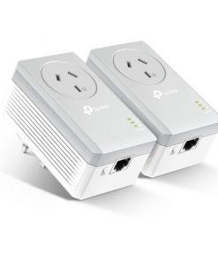 TL-PA4010PKIT-TP-Link TL-PA4010PKIT AV600 Powerline Adapter with AC Pass Through Starter Kit 600Mbps HomePlug AV 1x100Mbps LAN Power Socket 300m ~TL-PA4016P KIT