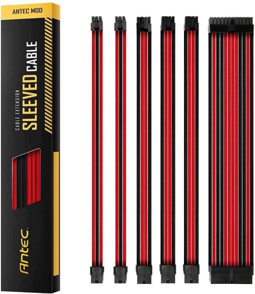 PSUSCB30-201-R/B-Antec PSU -  Sleeved Extension Cable Kit V2 - Red / Black. 24PIN ATX