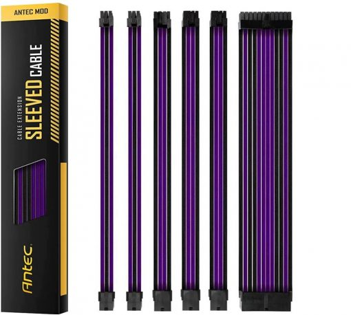 PSUSCB30-205-P/B-Antec PSU -  Sleeved Extension Cable Kit V2 - Purple / Black. 24PIN ATX