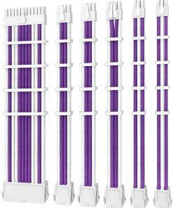 PSUSCW30-205-P/W-Antec PSU -  Sleeved Extension Cable Kit V2 - Purple / White. 24PIN ATX
