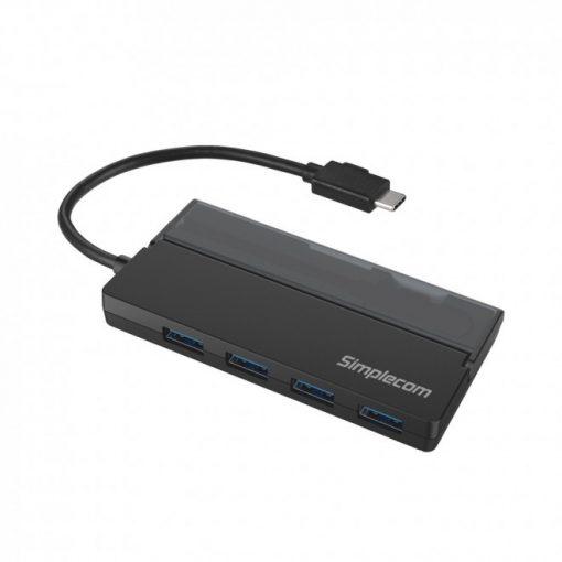 CH330-BLK-Simplecom CH330 Portable USB-C to 4 Port USB-A Hub USB 3.2 Gen1 with Cable Storage - Black