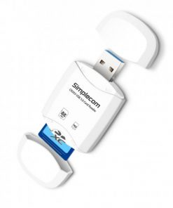 CR303-W-Simplecom CR303 2 Slot SuperSpeed USB 3.0 Card Reader with Dual Caps -White