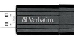 49064-Verbatim Store'n'Go Pinstripe USB Drive 32GB USB Storage Drive Memory Stick (Black)
