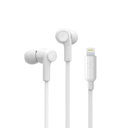 G3H0001btWHT-Belkin SOUNDFORM™ Headphones with Lighting Connector - White - a perfect fit to your ear for superior sound and noise isolation