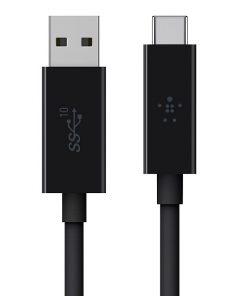 F2CU029bt1M-BLK-Belkin 3.1 USB-A to USB-C™ Cable (USB Type-C™) - Black - Reversible USB-C connector