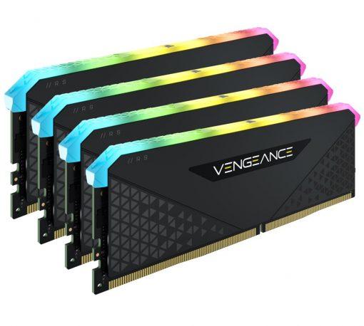 CMG32GX4M4E3200C16-Corsair Vengeance RGB RS 32GB (4x8GB) DDR4 3200MHz C16 16-20-20-38 Black Heatspreader Desktop Gaming Memory