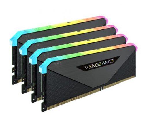 CMN64GX4M4Z3600C18-Corsair Vengeance RGB RT 64GB (4x16GB) DDR4 3600MHz C18 18-22-22-42 Black Heatspreader Desktop Gaming Memory for AMD Threadripper