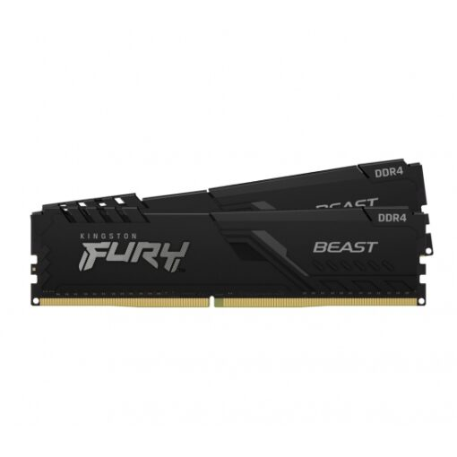 KF426C16BBK2/16-Kingston Fury Beast 16GB (8GB x2) DDR4 2666Mhz CL16 1.2V Non ECC DIMM Single Rank Low Profile Heat Spreader Design 2 Modules memory Lifetime WTY