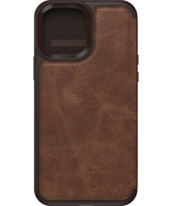 77-85801-OtterBox Apple  iPhone 13 Pro Max Strada Series Case (77-85801) - Espresso Brown - Slim profile slips easily in and out of pockets