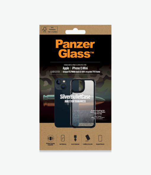 0318-PanzerGlass™ SilverBullet ClearCase for iPhone 13 Mini - The ultimate survivor