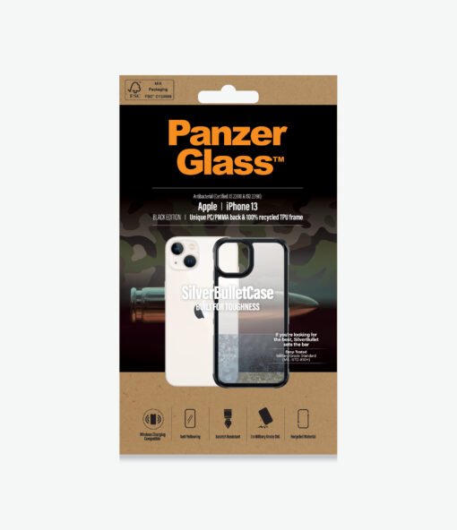 0319-PanzerGlass™ SilverBullet ClearCase for iPhone 13 - Slim Fashionable Design