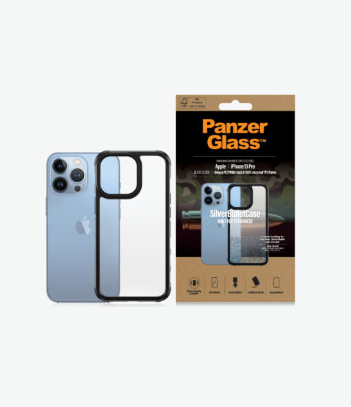 0324-PanzerGlass™ SilverBullet Case for iPhone 13 Pro - Black - Most powerful ClearCase™ ever