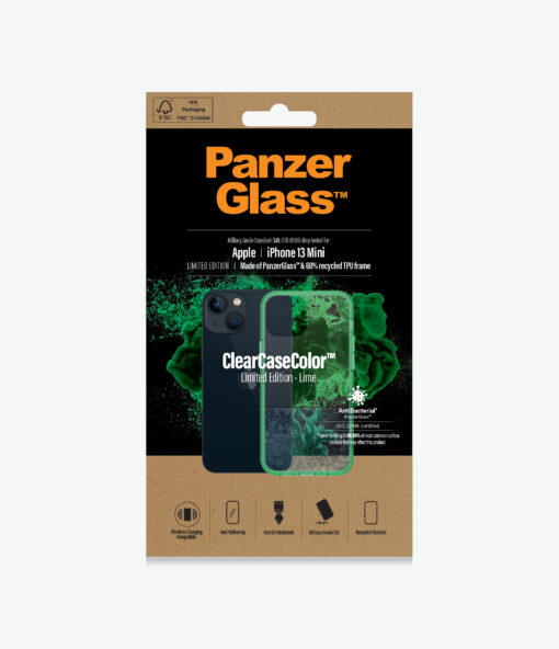 0329-PanzerGlass™ SilverBullet Case for iPhone 13 Mini - Lime - Slim Fashionable Design
