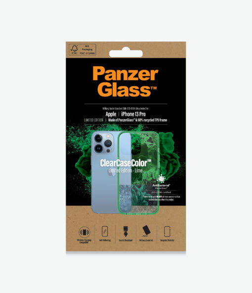 0339-PanzerGlass™ SilverBullet Case for iPhone 13 Pro - Lime - Slim Fashionable Design