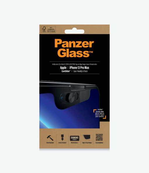 2749-PanzerGlass™ iPhone 13 Pro Max - CamSlider® - Screen Protector - For Apple iPhone 13 Pro max - Black - Full Frame Coverage