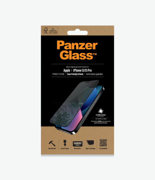 PROP2745-PanzerGlass™ iPhone 13/13 Pro Black - Privacy -Screen Protector - Full Frame Coverage