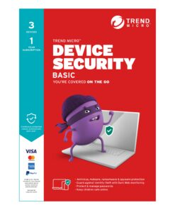 TICEWWMFXSBXEM-Trend Micro Device Security BASIC (1-3 Devices) 1Yr Subscription Retail Mini Box (Replaces Maximum Security)
